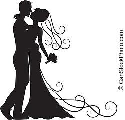 csókolózás, lovász, menyasszony