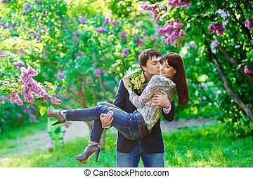 csókolózás, párosít, szeret, fiatal, boldog