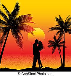 csókolózás, párosít, tengerpart