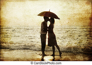 csókolózás, párosít, tengerpart, sunset.