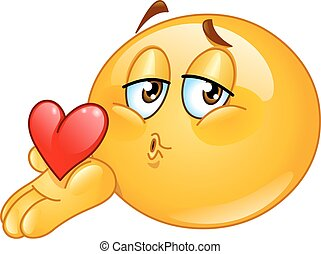 csókol, hím, fújás, emoticon