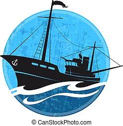 csónakázik, árnykép, halászat, lenget
