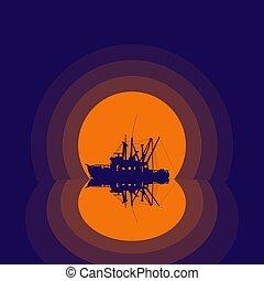 csónakázik, árnykép, halászat, visszaverődés
