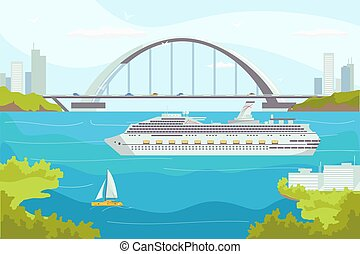csónakázik, fényűzés, illustration., cirkálás, víz, óceán, jacht, tenger, szállítás, tengeri, szállít, vektor, hajó, személyszállító hajó, travel.