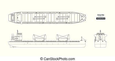 csónakázik, háttér., rakomány, kilátás, hajó, rajz, lejtő, elülső, fehér, konténer, tervrajz, tető, tanker., áttekintés