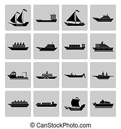 csónakázik, hajó, állhatatos, ikonok