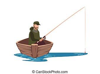 csónakázik, halász