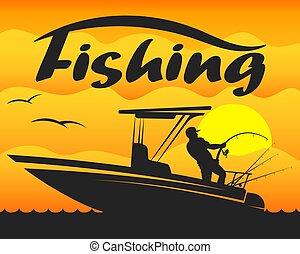 csónakázik, halász, rúd, halászat