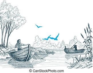 csónakázik, halász, skicc