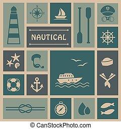 csónakázik, halászat, ikonok