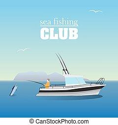 csónakázik, halászat, tenger, marlin