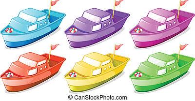 csónakázik, hat, színes