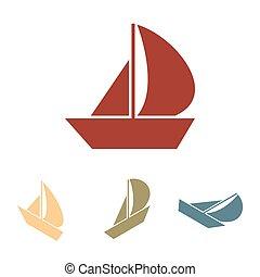 csónakázik, ikon, hatás, isometric, vitorlázik, set.