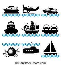 csónakázik, ikonok