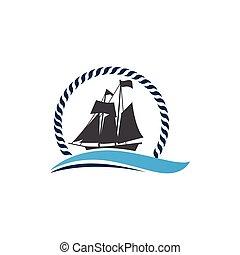 csónakázik, jel, jel, cirkálás, vagy, hajó