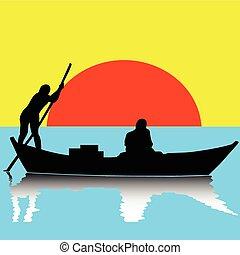 csónakázik, két, ábra, ember