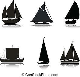 csónakázik, körvonal, vektor