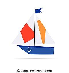 csónakázik, karikatúra, ábra, ikon