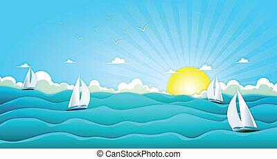 csónakázik, széles, óceán, vitorlázás, nyár