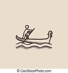 csónakázik, tengerész, evezés, icon., skicc