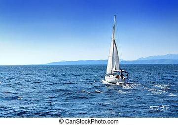 csónakázik, tenger