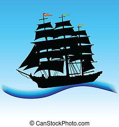 csónakázik, vektor, művészet, tenger, ábra