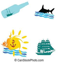 csónakázik, vektor, tenger, ábra, ikon
