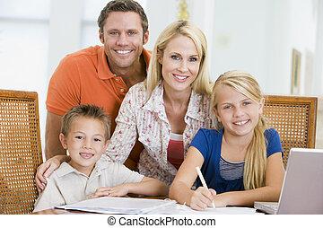csörömpölés, laptop, gyerekek, fiatal, két, ételadag, párosít, lecke