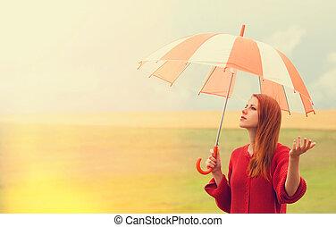 csörgőréce, leány, esernyő, kaszáló