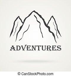 csúcs, szüret, három, labels., vektor, kaland, hegy.