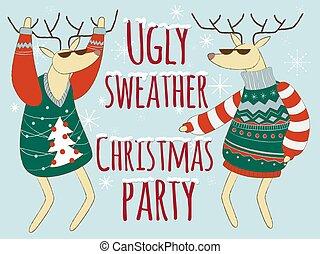 csúnya, karácsony, ábra, sweather, szvetter, fél
