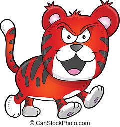 csúnya, tiger, vektor, szándékozik