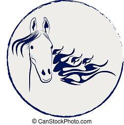 csődör, jel, ló, vektor