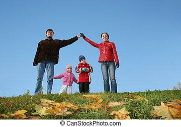 család, ég, világos, house., ősz, gyerekek