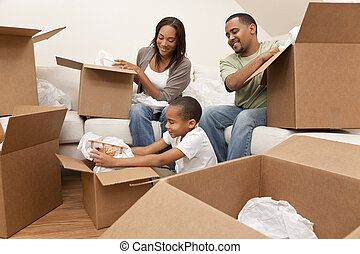 család, épület, amerikai, dobozok, mozgató, afrikai, kicsomagoló