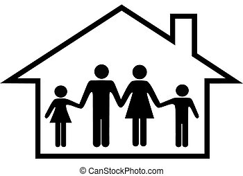 család, épület, páncélszekrény, szülők, otthon, gyerekek, boldog