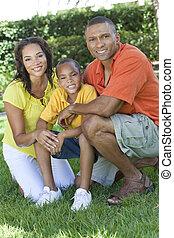család, anya, atya, amerikai, fiú, kívül, afrikai