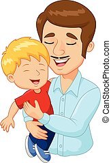 család, atya, karikatúra, birtok, boldog