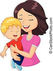család, boldog, karikatúra, birtok, anya
