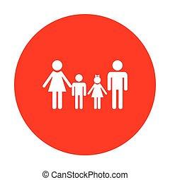 család, cégtábla., fehér, circle., piros, ikon