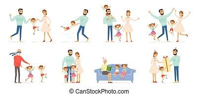 család, childrens, characters., párosít, akció, alakzat, boldog, beállít, szülők, gyerekek, emberek, anya, vektor, atya, nagyszülők