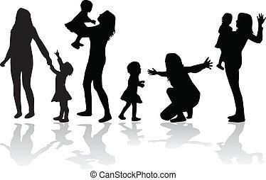 család csoport, vektor