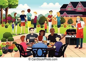család, együtt, gyűjt, birtoklás, nyár, barátok, grillsütő buli