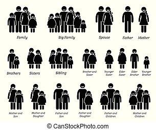 család, emberek, icons.