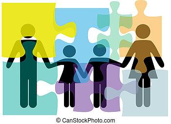 család, emberek, rejtvény, oldás, egészség, szolgáltatás, probléma