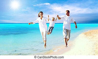 család, fiatal, móka, boldog, tengerpart, birtoklás, kilátás