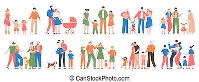 család, groups., arcképek, vektor, szeret, betűk, különböző, atya, hagyományos, ábra, gyerekek, állhatatos, anya, család nemzedék, boldog