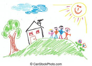 család, gyermekek, -, fantázia, gyermek, drawing: