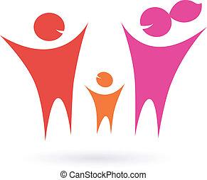 család, ikon, közösség, emberek