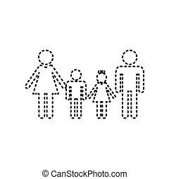 család, isolated., istenverte, cégtábla., háttér., fekete, vector., fehér, ikon
